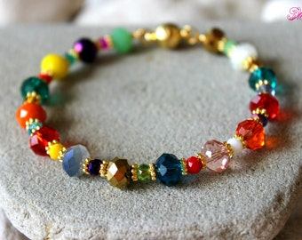 Colorful Bracelet, Colorful Crystal Bracelet, Gypsy Bracelet, Hippie Bracelet, Summer Bracelet, Multicolor Bracelet, Charm Beaded Bracelet