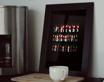 Stranger Things Art Poster, Stranger Things Gift, Eleven, Netflix, Stranger Poster, Movie Poster, Upside Down, Friends Don't Lie, Wall Art