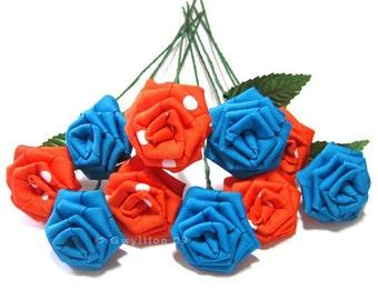 Polka Dot Orange Blue Rose Bouquet - (12)