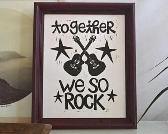 """together, we so rock linoleum block print - 11"""" x 14"""" wall art"""