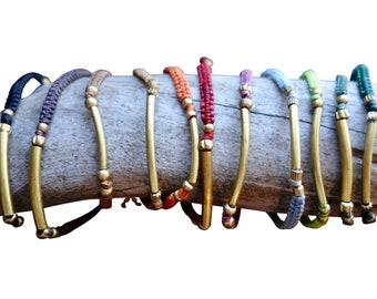 Elegant Brass Macrame Bracelet | Bohemian Chic | Brown, Orange, Red, Pink, Black, Green, Blue
