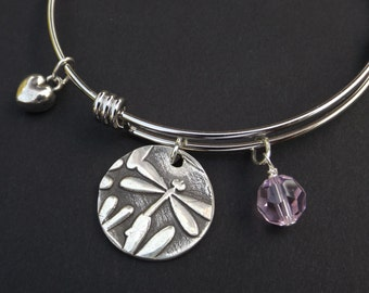 Dragonfly charm bangle bracelet, Dragonfly jewelry gift, Dragonfly collector gift, I love dragonflies bracelet
