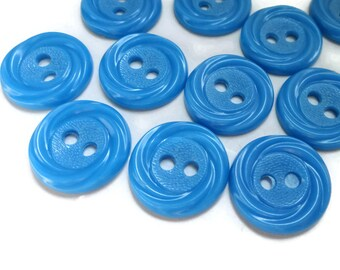 12 Sky Blue Vintage Buttons 5/8 inch 15mm for Jewelry Beads Sewing Knitting Baby Doll Clothes