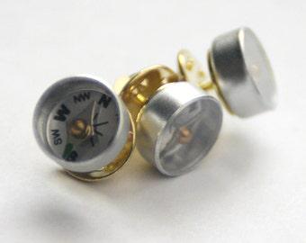 Men's Gift, WWII Style Escape Compass Tie Tack, Wearable Tech, Military Veteran Gift, Hiker Industrial Gadget Geekery, Techie Groomsmen Gift