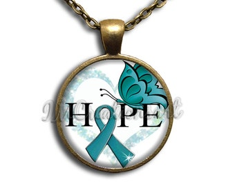 Hope Ovarian Cancer Awareness Glass Dome Pendant or with Chain Link Necklace WD155