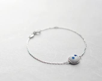 Blue polka ceramic bracelet, Ceramic bracelet Sterling silver bracelet Minimalist bracelet Simple ceramic Gift for her -boohua