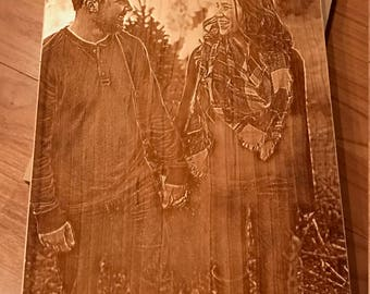 Picture laser etched on to wood.