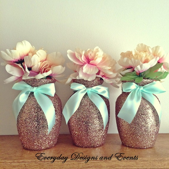3 Rose Gold Mint Vases Wedding Centerpiece Rose Gold Decor