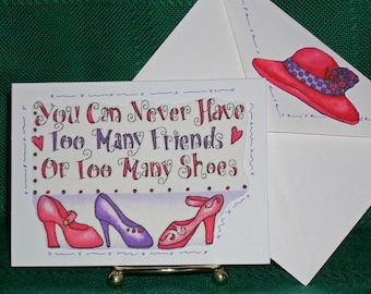 NOTECARDS--Red Hats and Shoes