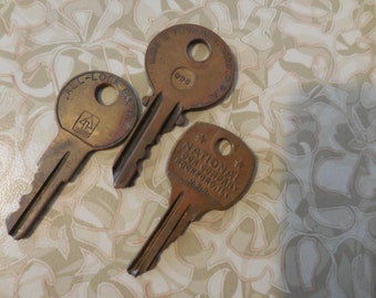 Vintage Keys for Repurposing Reuse Recycle Metal Jewelry Making Supplies 1950s to 1970s Small Stubby