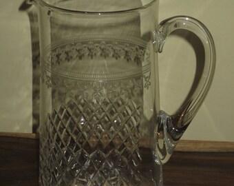 Vintage 1930's Mousseline Etched Glass Pitcher, Sangria Pitcher, Juice Pitcher
