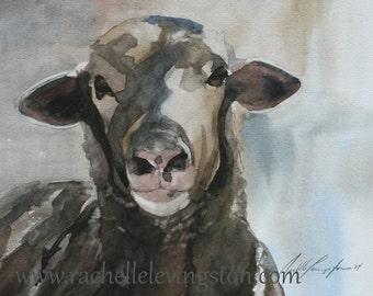 watercolor ORIGINAL painting of sheep painting original sheep painting watercolour original animal painting 8x10 lamb white black brown