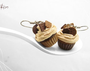 Chocolate Cupcake Earrings, Miniature Food, Food Jewelry, Chocolate Hooks, Polymer Clay Earrings, Cupcake Jewelry Kawaii, Foodie Gift