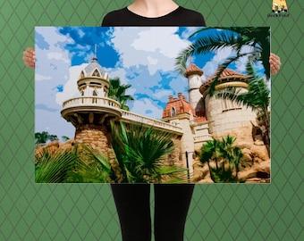 An Enchanted Mermaid Castle by the Sea, The Princess Lagoon Abode, Custom Raised Canvas Art Piece