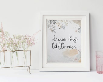 Dream big little one, Whimsical nursery decor, Nursery Wall Art, Nursery Decor, Nursery Printable Art, Nursery prints, Whimsical nursery art