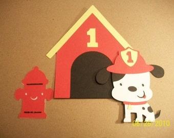 dalmation fire dog, dog house, fire hydrant diecut set