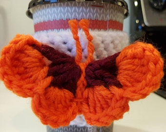 READY TO SHIP Butterfly cup cozy, crochet cup cozy, butterfly drink sleeve, reusable cup sleeve, 3D Butterfly