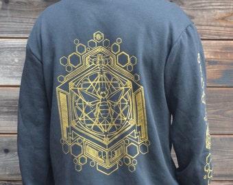 Sacred Geometric Honeybee Hoodie Sweat Shirt - Honeybee Hoodie - Honeycomb Zip Up - Sacred Geometry Hoodie - Zip Up Hoodie - Mens Hoodie