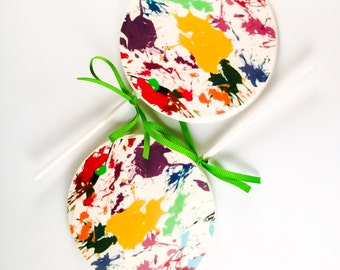 "2 Jumbo 4"" White Chocolate Painter Lollipops"