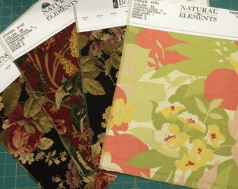 Upholstery fabric samples - Floral mix qty 4 - cotton