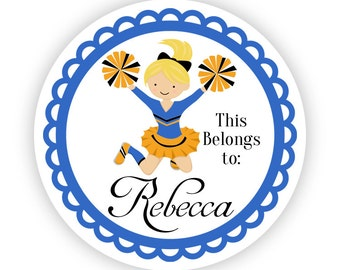 Name Tag Stickers - Cute Blue and Gold Girl Cheerleader Personalized Name Label Tag Stickers - 2 inch Round Label Tags - Back to School Name