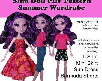 EASY Summer Wardrobe PDF Instant Download patterns with instructions for regular Monster High - use to make four doll clothing pieces