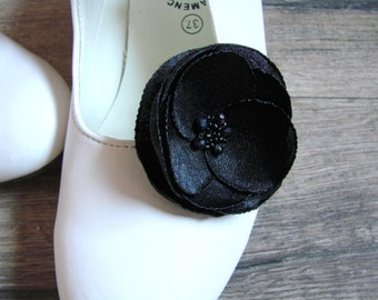 Black shoe flowers Black shoe accessorry Black shoe clips Party Wedding Shoe clips with flower silk flower black poppy clips Gift for her