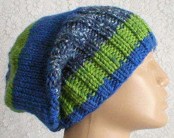 Slouchy hat, watch cap, brimmed beanie, blue green navy white tweed, striped hat, toque, mens womens knit hat, ski toboggan hat, winter hat