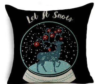 LUXURIOUS  Merry Christmas Peace let it snow, joy ,Deer,Love, throw pillow covers  Cushion,home decor Pillow, Cover 17 x 17
