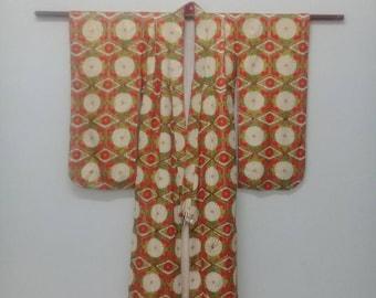 Vintage Japanese Kimono Cardigan Cream+Orange Daisy Flower Design