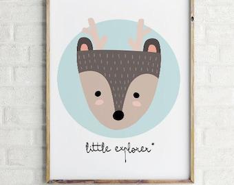 Mint Wall Art, little explorer deer, Mint Decor, deer Art, Printable Art, Wall Decor, Mint Prints, deer Wall Art, Printable Decor, mint deer