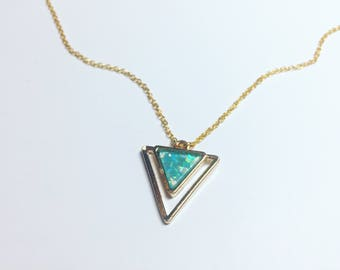 """Gold and Green Holographic Triangle Necklace • Adjustable Length 18"""""""