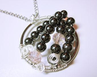 NECKLACE JEWELRY Black Hematite Pendant Quartz Crystals Original Designed Hematite Pendant Pink Facet Beads On Silver Ring Gift Idea For Her