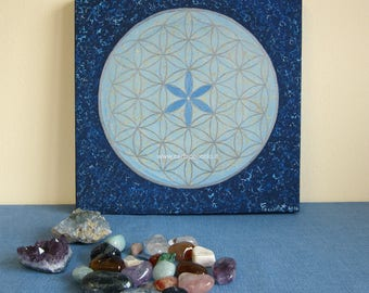 Stampa d'arte su tela, made in Italy, Fiore della Vita e geometria sacra, Mandala energy art, Meditazione