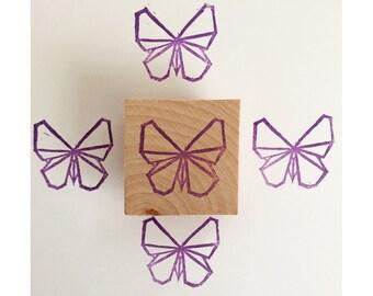 Tampon en gomme, motif papillon origami, gravé à la main