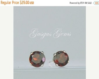MothersDaySale Garnet Stud Earrings Sterling Silver 4mm Round .70ctw Natural Untreated