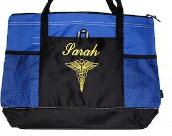 Personalized Nurse Tote Bag; Caduceus; Medical Symbol; Monogrammed Nurse Gift; Doctor; RN, LPN