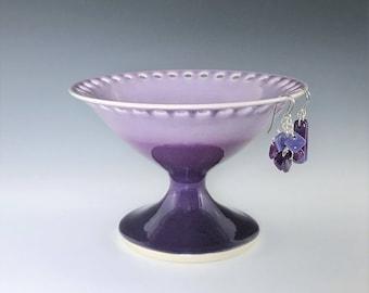 Purple Earring Pedestal, Ceramic Earring Holder, Jewelry Organizer, Porcelain Earring Stand, Pottery Earring Bowl, Jewelry Storage Dish