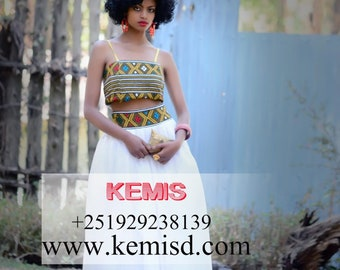 Crop top skirt set/ Ethiopian dress/ Top and skirt set/ Two piece skirt set/ Crop top and skirt/ African prom dresses/ Prom separates