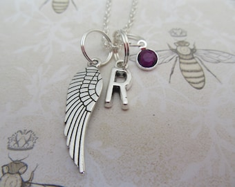 Angel wing necklace,rememberance necklace,angel wing pendant, guardian angel jewellery,personalised necklace,