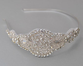 Crystal Rhinestone , flapper Gatsby Headband, Wedding Headband, Wedding Headpiece, Halo Bridal Headpiece, 1920s Flapper headband