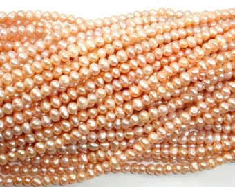 Fresh Water Pearl Beads, Peach, Potato, Approx 4-5 mm, 14 inch , Full strand, Approx 87 beads, Hole 0.4 mm (230050026)