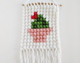 cactus wall hanging wall art macrame home decor gift housewarming gift for her handmade wall decor yarn wall hanging succulent plant lady