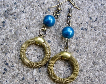 Eco-Friendly Unique Dangle Earrings for Pierced Ears - Soho Nights - Recycled Vintage Unusual Brass Mesh Hoop Beads, Deep Blue Glass Pearls