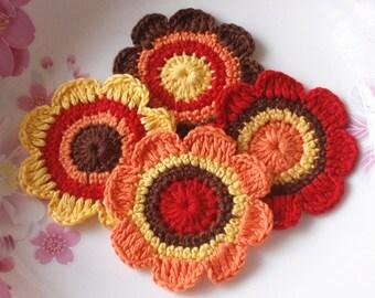 4 Crochet Flowers In Yellow, Orange, Red, Brown YH-046-03