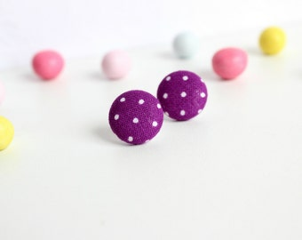 Purple Polka Dot Studs, Violet Earring Studs, Fabric Button Studs, Retro Minimal Posts, Purple Earring Posts, Small Studs Posts,Dainty Jewel