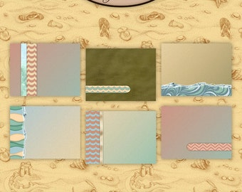 Digital Scrapbook: By The Sea 3x4 Journaling and Decorative Cards 1