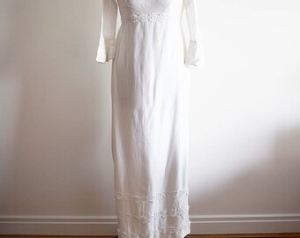 1960s Wedding Dress with Train and Floral Waistband and Cuffs, Approx Size 6/8
