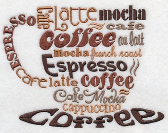 Coffee Lovers Cup Embroidered Flour Sack Hand/Dish Towel
