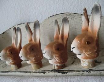 Convolute Vintage Bunny Heads mache shabby